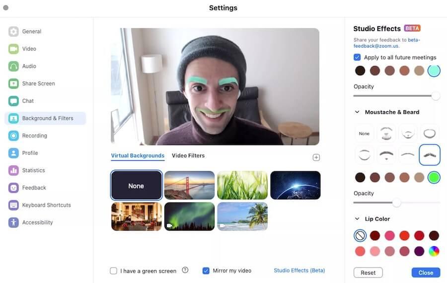 Zoom тестирует опцию Studio Effects