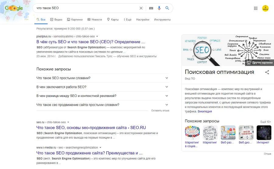 Выдача результатов в Google поиске