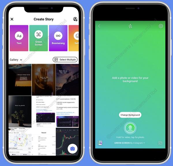 Facebook тестирует «зеленый экран» для историй