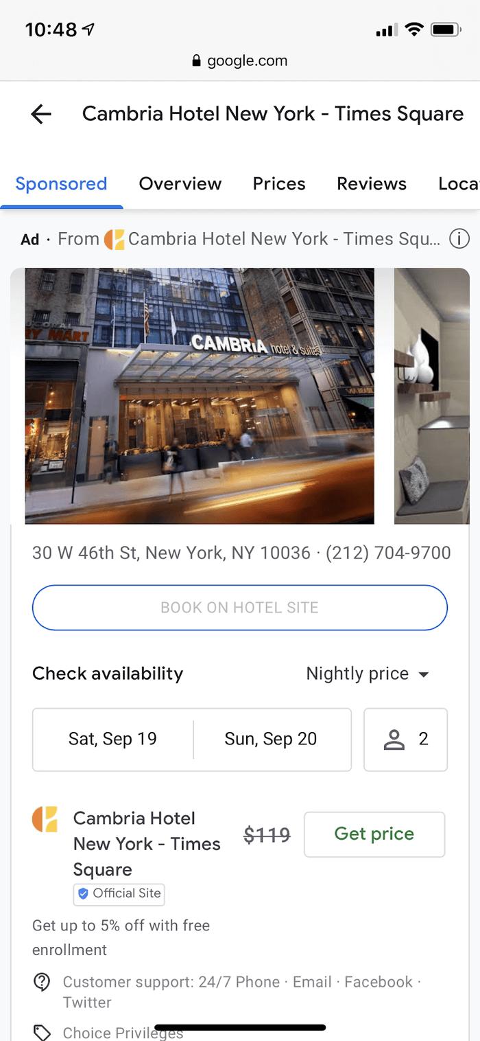Google запускает новый формат рекламы отелей для всех рекламодателей