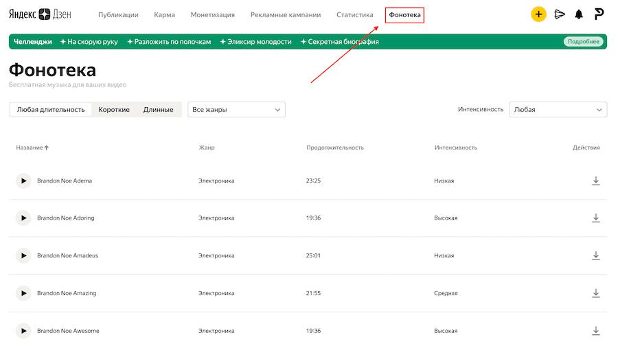 Как найти фонотеку в Яндекс Дзен