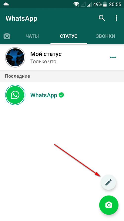 Как поставить текстовый статус Вотсап
