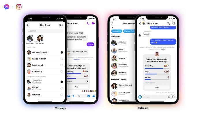 групповые чаты между Messenger и Instagram Direct